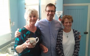 Frazer McDermott Vicar of St. Margarets enjoying the company of Jennifer Gilchrist And Maggie Sales